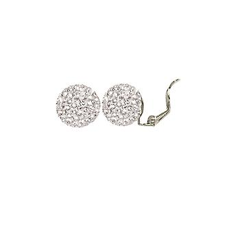 Eternal Collection Shamballa Glitter Ball Silver Tone Stud Clip On Earrings