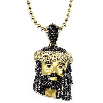 18k Matte Gold Plated Jesus Piece with Black 30mm CZ and 30 inch ball chain