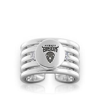 Howard University Engraved Sterling Silver Diamond Multiband Cuff Ring