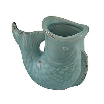 Crackle bleu finition céramique Koi poissons Vase
