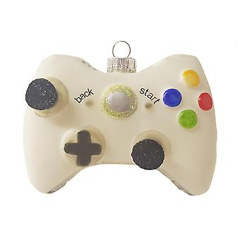 White Video Game Controller Christmas Holiday Ornament Glass