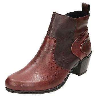 Botas de tornozelo Rieker Y2160-36 bloco de calcanhar quente alinhado