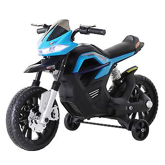 HOMCOM 6V Ride On Battery Powered Motorcycle Forward Brake Children Electric Scooter Vehicle Working Lights Music Blue