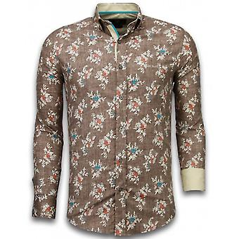 E Shirts - Slim Fit - Woven Flowers Pattern - Brown