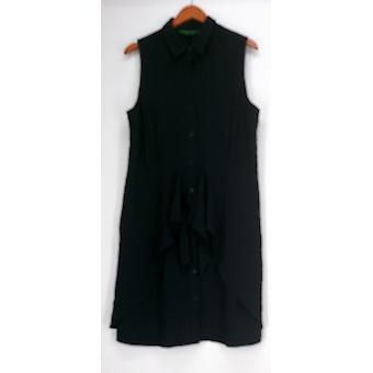 C. Wonder Dress Tie Front Sleeveless Button Down Shirt Dress Black a278462