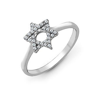 Jewelco London Solid 18ct White Gold Pave Set Round G SI1 0.13ct Diamond Magen Star of David Dress Ring 9mm