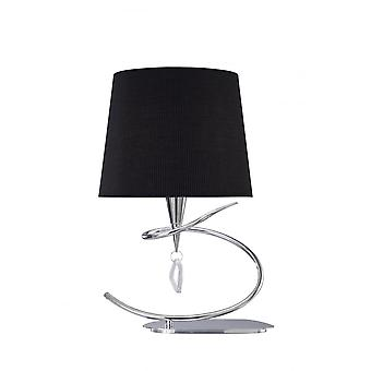 Mantra Mara Table Lamp 1 Light E14 Large, Polished Chrome With Black Shade