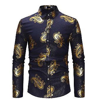 Allthemen menn ' s slim fit Bronzing trykt Business casual langermet skjorte