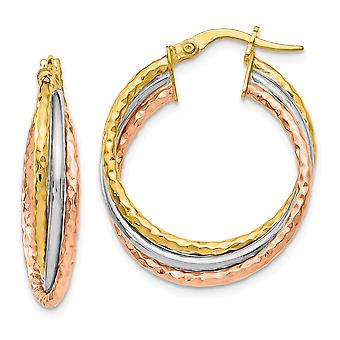 14k Tri Color Gold Textured Hoop Earrings Jewelry Gifts for Women
