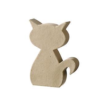 Paper Mache Flat Sitting Cat Shape 12.5cm to Decopatch & Decorate   Papier Mache