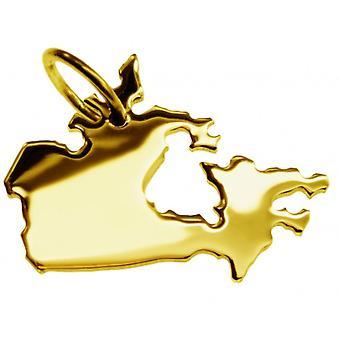 Hänge karta kedja hänge i guldgult-guld i form av Kanada