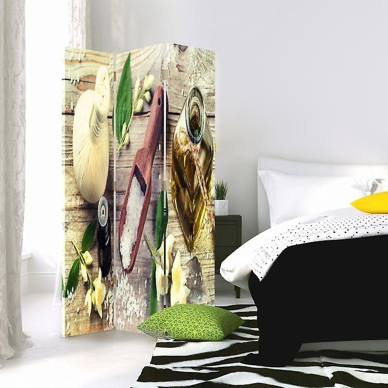Diviseur de chambre, 3 panneaux, unilatéral, toile, épices