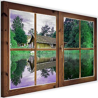 Canvas, Picture on canvas, window, cottage on the lake
