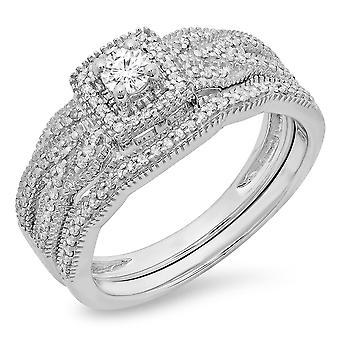 Dazzlingrock Collection 0.45 Carat (ctw) 10K Round Diamond Ladies Bridal Halo Engagement Ring Set 1/2 CT, White Gold