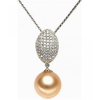 Luna-parels Diamond Pendant met gouden South Sea Pearl AH22