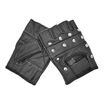 Bullet 69 Black Studded Biker Leather Gloves