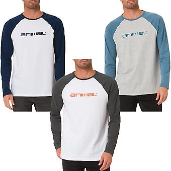Animal Mens Action Long Sleeve Casual Crew Collo Raglan T-Shirt Top