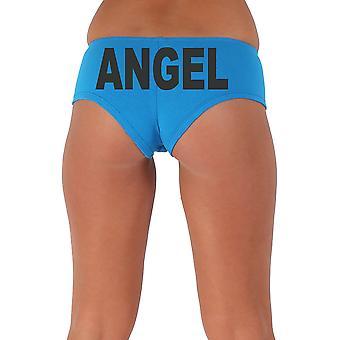 Women's Funny Booty Shorts Angel Block Black Bold Style Type