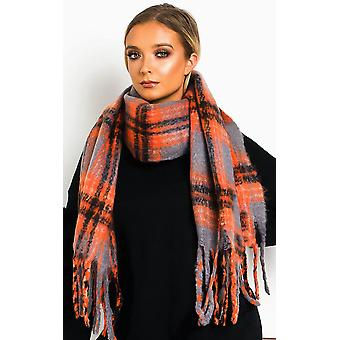 IKRUSH女性ニコールふわふわチェックプリントスカーフ