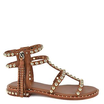 Ash POWER Sandals Brown Leather & Gold Pearls