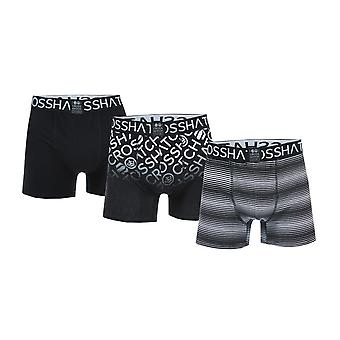 Mens Crosshatch Black Label Formbee 3 Pack Boxer Shorts In Black- 3 Pairs Black-
