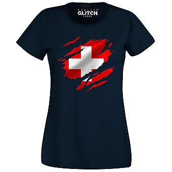 Rzeczywistość glitch rozdarty Szwajcaria flaga damska koszulka