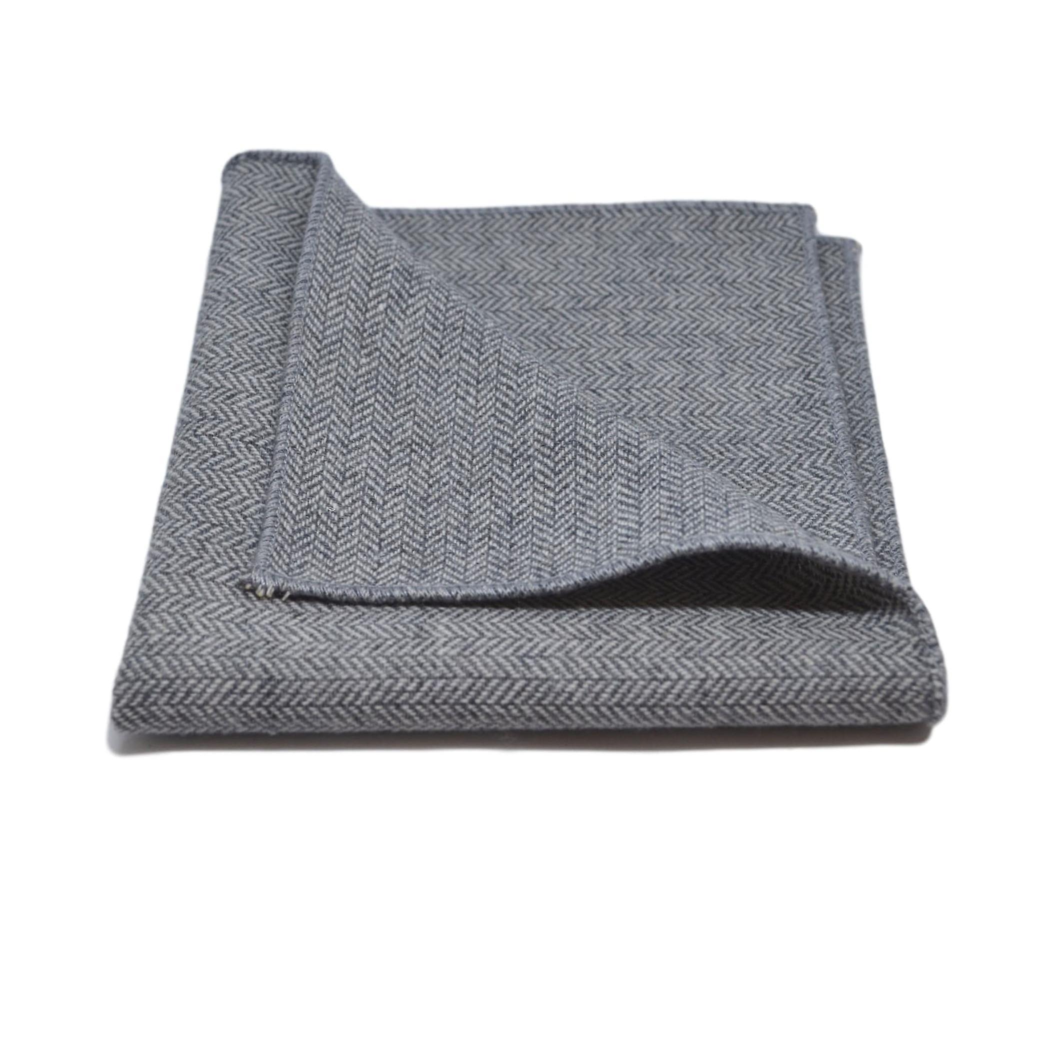 Silver Grey Herringbone Bow Tie & Pocket Square Set