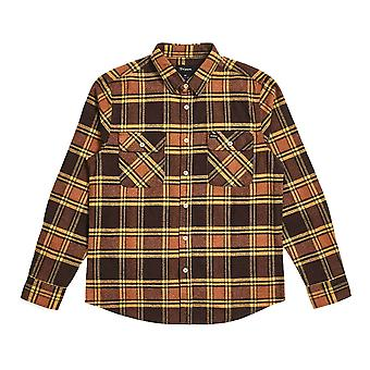 Brixton Bowery Flannel Long Sleeve Shirt Brown Gold