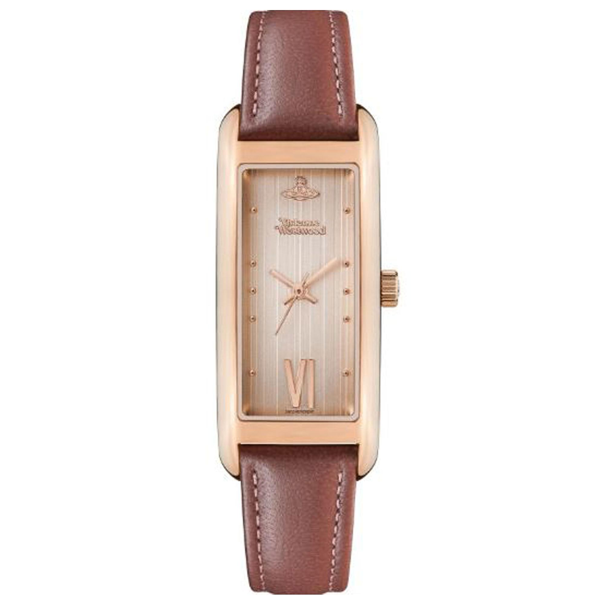 Vivienne Westwood West End Quartz Rose Gold Dial Brown Leather Strap Ladies Watch VV224RSDPK