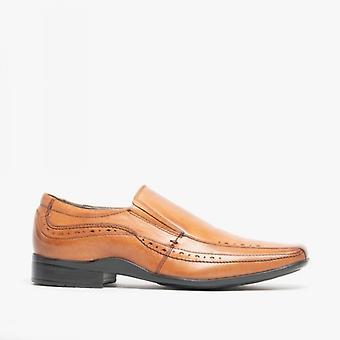 Front Sealey mens Leather Smart slip op schoenen Tan