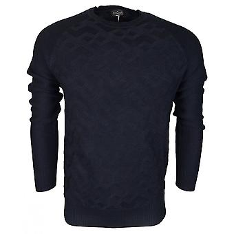 883 Police Retmo Cotton Ribbed Navy Knitwear Jumper
