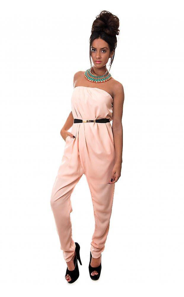 Bonita Peach Strapless Jumpsuit