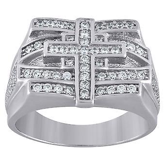925 Gümüş Erkek CZ Kübik Zirkonya Simüle Diamond Cross 8mm Dini Band Yüzük Takı Hediyeler Erkekler için - Yüzük