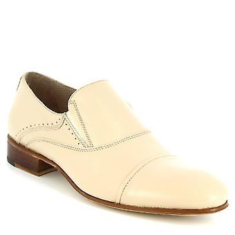 ليوناردو أحذية الرجال & s المصنوعة يدويا أحذية المتسكعون أنيق في جلد العجل الأبيض