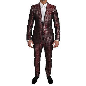 Dolce & Gabbana Bordeaux Gold Shiny 2 Piece Slim Suit