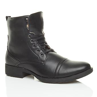 Ajvani mens low heel military biker lace up zip army combat ankle boots shoes