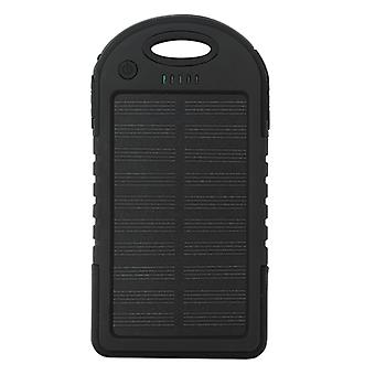 Stuff Certified® External 5000mAh Solar Charger Powerbank Solar Panel Emergency Battery Charger Black
