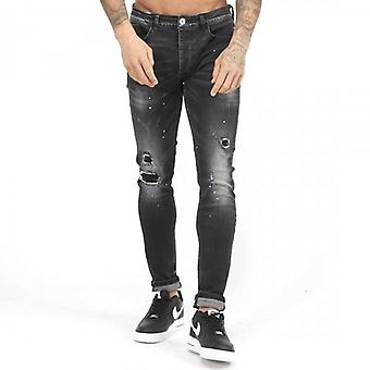 Kings Will Dream Limer Superslim Stretch Denim Black Wash Ripped & Repaired Jeans