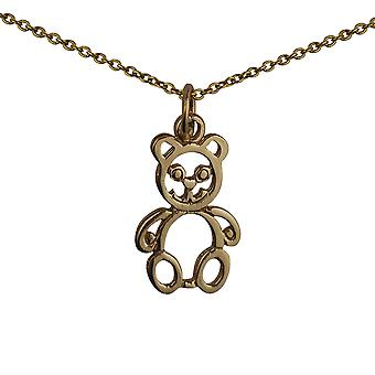 9ct Gold 21x12mm pierced Teddy Bear Pendant with a cable Chain 20 inches