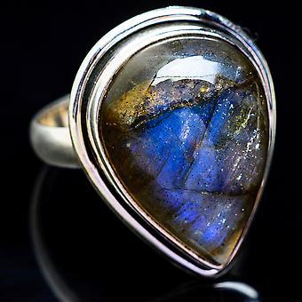 Large Labradorite Ring Size 10 (925 Sterling Silver)  - Handmade Boho Vintage Jewelry RING3512