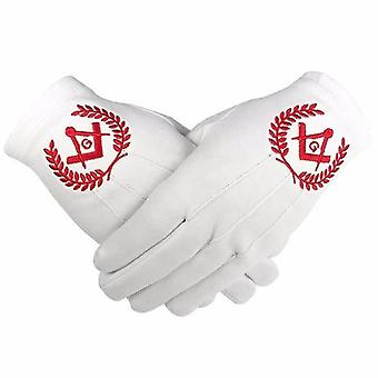 Masonic regalia 100% cotton gloves square compass and g - red 2 x pair