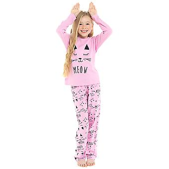 Girls 100% Cotton Super Cat Print Pyjama Set
