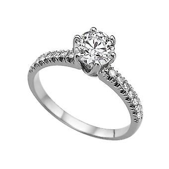 14K White Gold 1.14 CTW 6.50MM Forever One Moissanite Engagement Ring with Diamonds  6 prongs