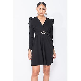 Puffed Sleeve Wrap Front Mini Dress - - Black
