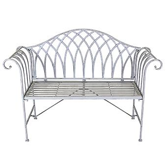 Charles Bentley Decorative Wrought Iron Outdoor Rustic Bench Curved Armrest 2 Seater Weatherproof - Grey