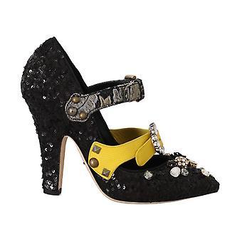 Dolce & Gabbana Svart Paljetterad Kristall Studs Klackar Skor