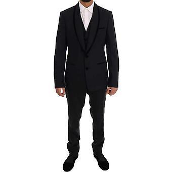 Dolce & Gabbana fekete gyapjú Stretch Slim Fit 3 db öltöny -- KOS1762416