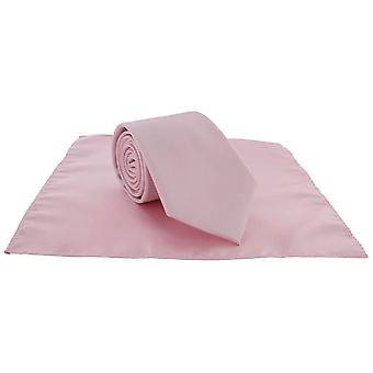 Paret av London ren Polyester Pocket Square og slips - rosa