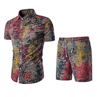 Allthemen Men's Comfortable Cotton Printed Short-Sleeved Shirt Suit