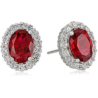 Sterling Silver Created Ruby and White Sapphire Halo Oval, Green, Size No Size